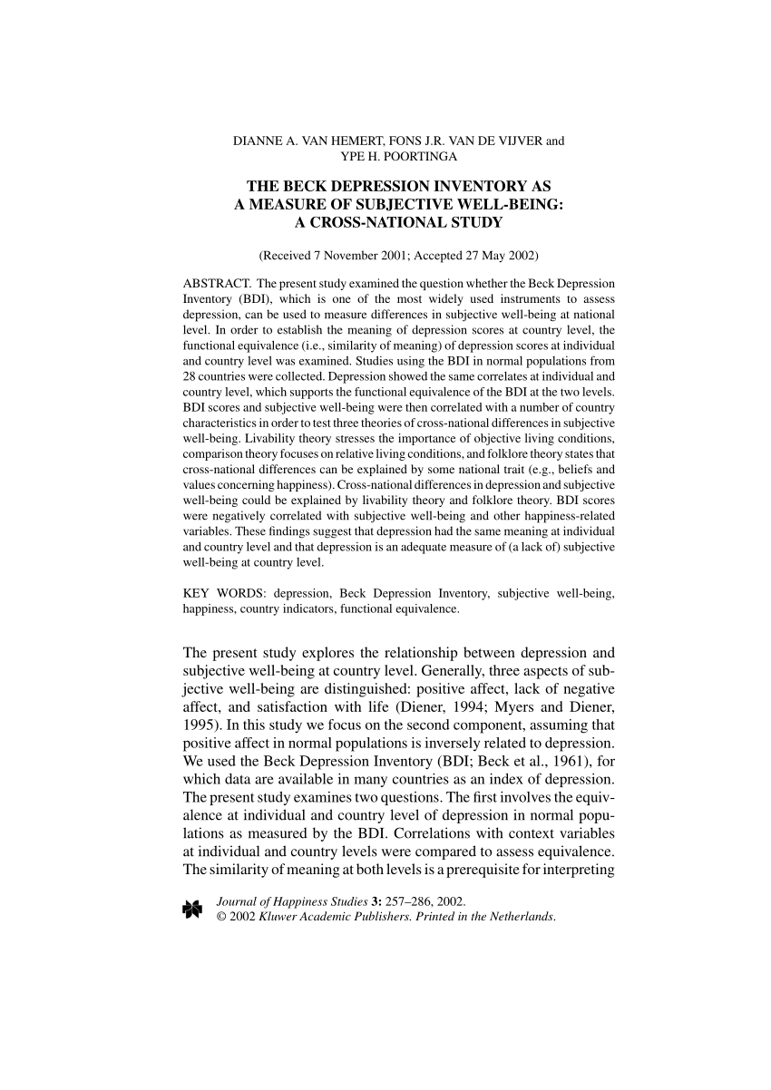 Beck Depression Inventory Pdf Printable