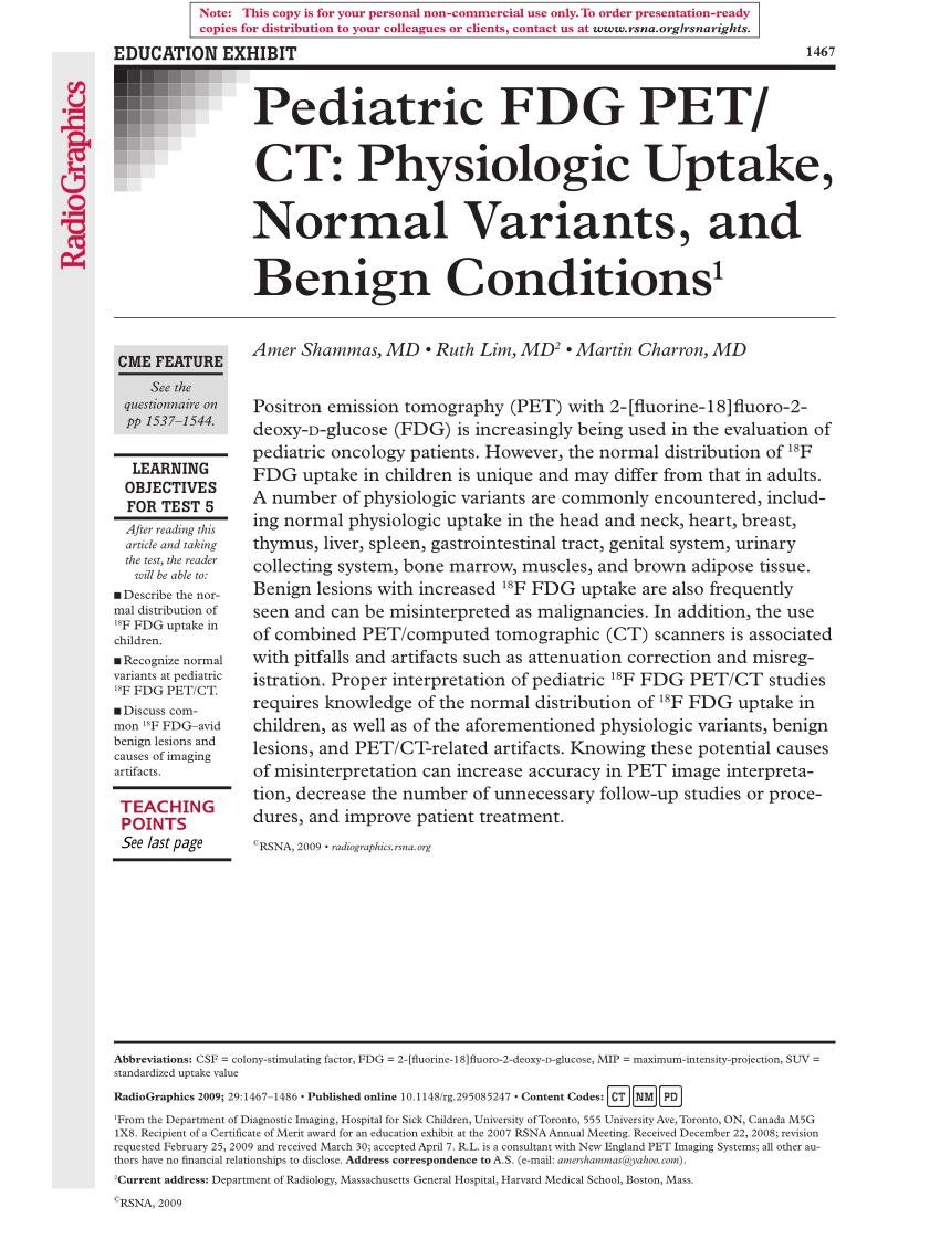 (PDF) Pediatric FDG PET/CT: Physiologic uptake, normal ...