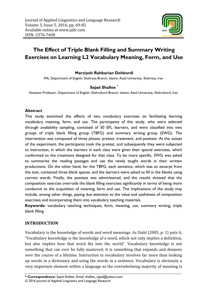 Effect Of Triple Bl Nk Fill G Nd Summ Ry Writ G Exercises