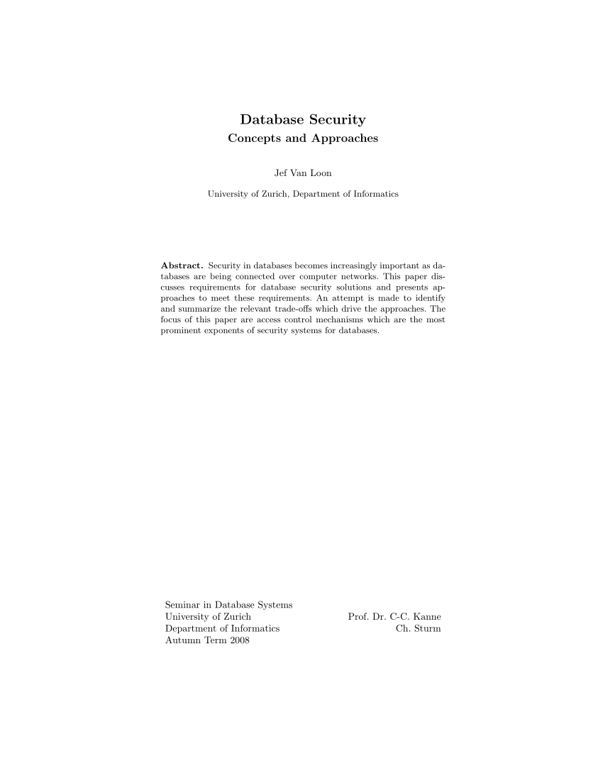 Database Security Concepts