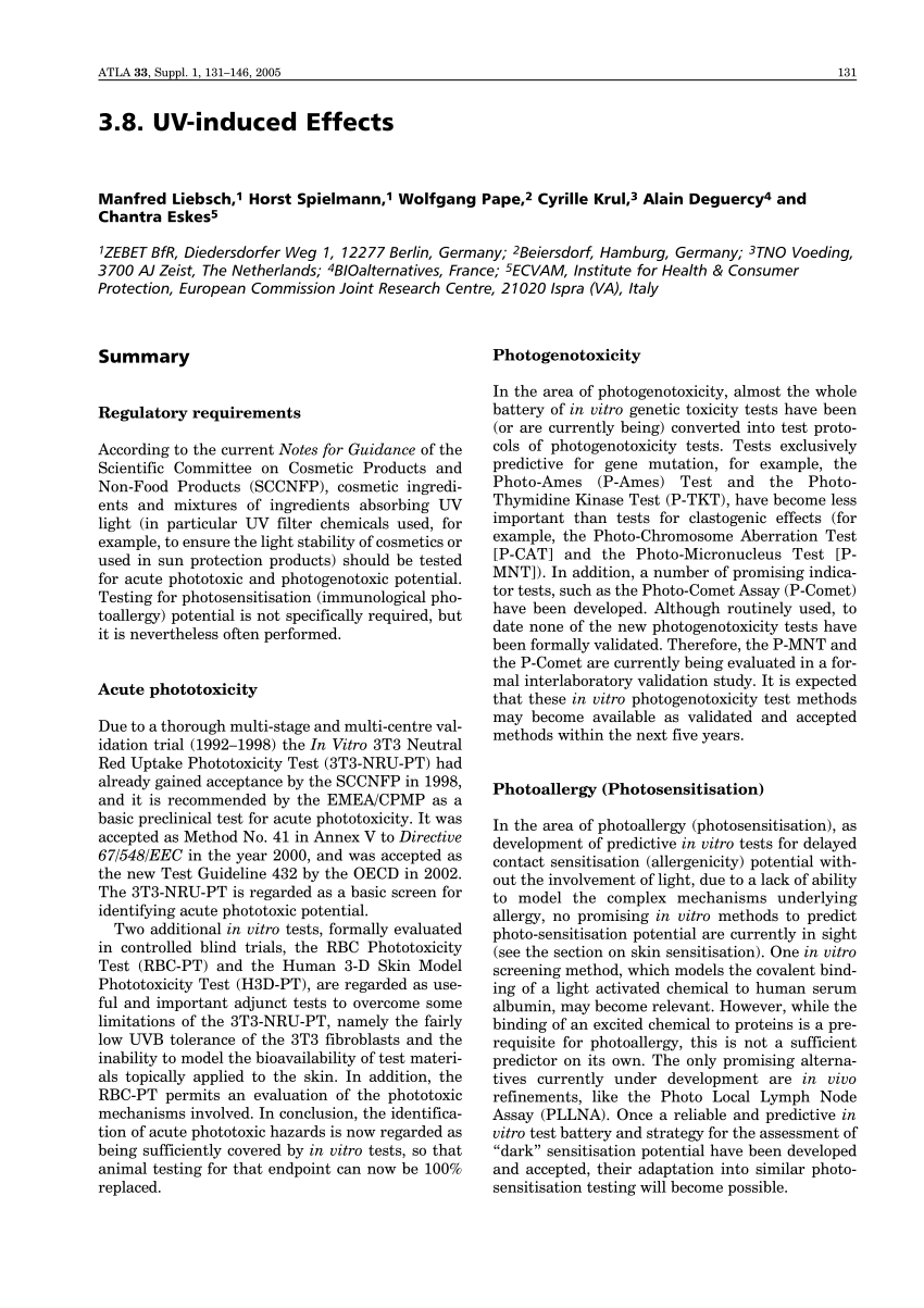 PDF) UV-induced effects