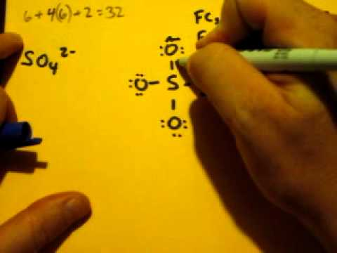 Lewis Dot Structure of SO4 2- (Sulfate Ion) - YouTube