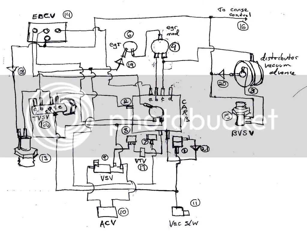 1985 Toyota Pickup Vacuum Hose Diagram 22r Carburetor 1023x774