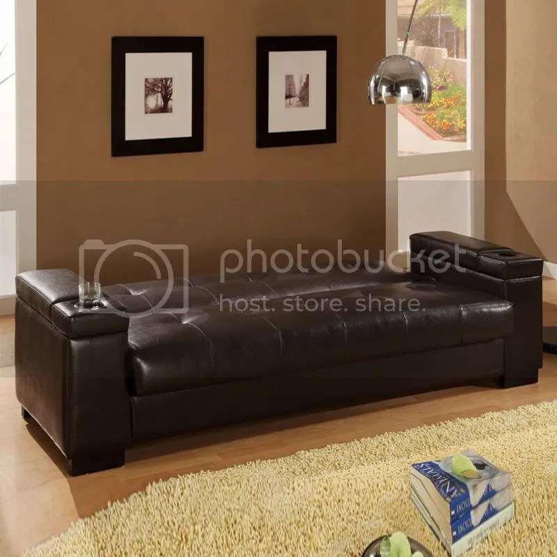 Dark Brown Faux Leather Storage Sinuous Spring Base Couch