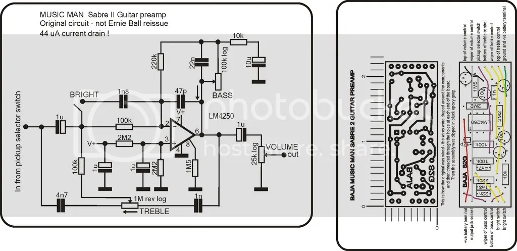Onboard Bass Preamp Schematic