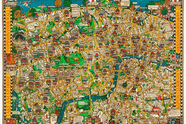Fact  fantasy and the  Wonderground Map of London  at cartography     Wondergound map Leslie MacDonald Gill s His  Wonderground Map of London    originally drawn as