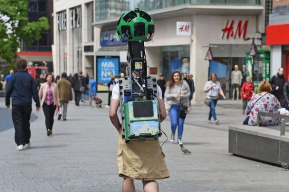 Did you see the Google Maps street view trekker in Liverpool     The Google Maps trecker in Liverpool  Image  Colin Lane