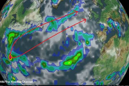 Take cover   satellite image shows Hurricane Joaquin thundering     This Weather Channel map shows the projected path of Hurrican Joaquin  towards Britain