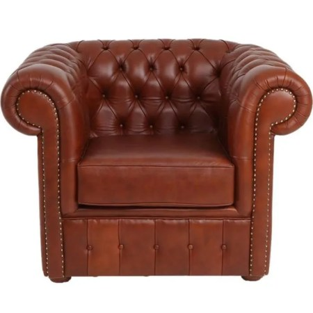 Fauteuil Cuir Marron clair Suspension sangles   CHESTERFIELD   Achat     Fauteuil Cuir Marron clair Suspension sangles   CHESTERFIELD
