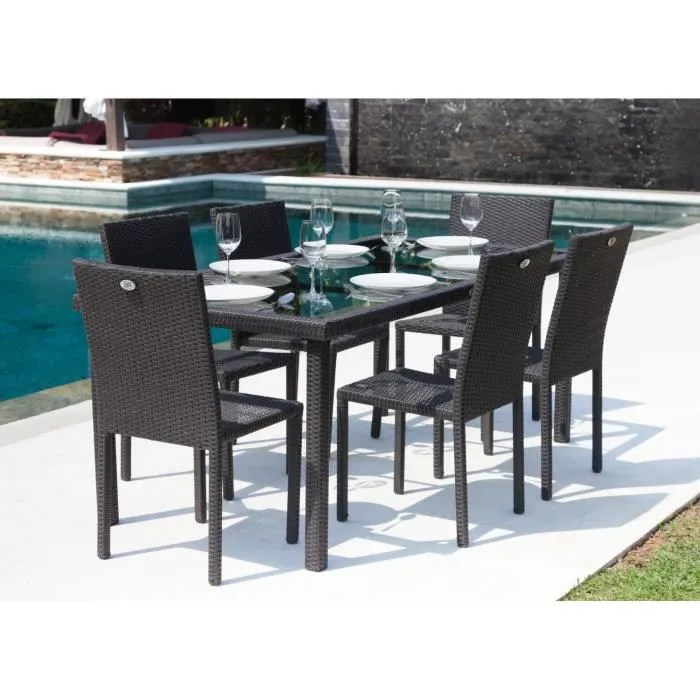 IBIZA Ensemble table de jardin 6 places en r    sine tress    e et     IBIZA Ensemble table de jardin 6 places en r    sine tress    e et aluminium    Anthracite