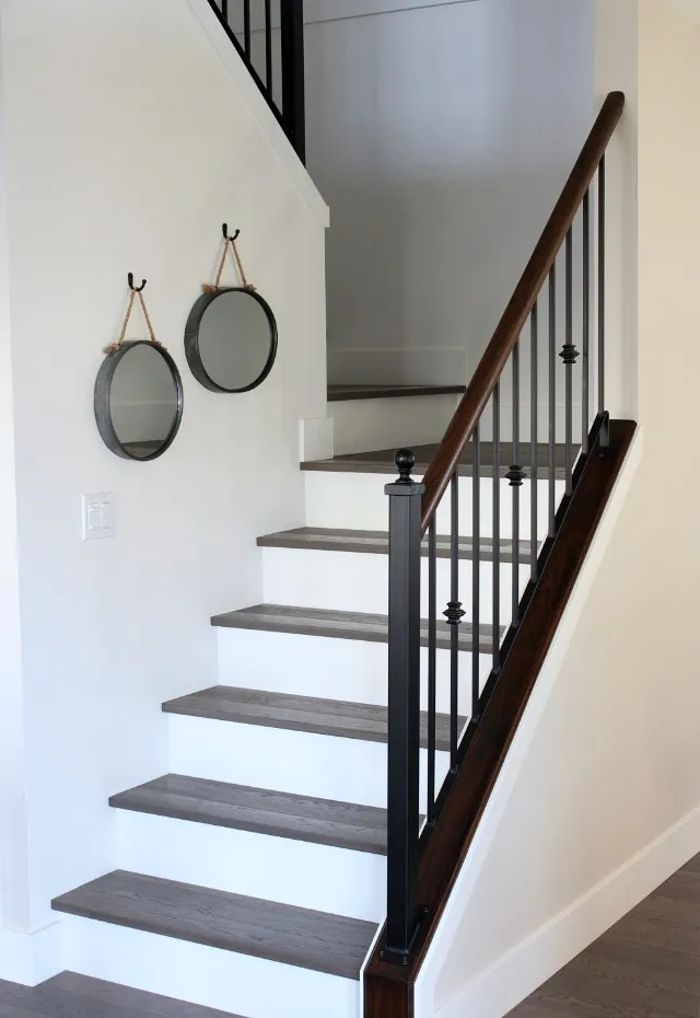 From Carpet To Hardwood Staircase Makeover Satori Design For Living | Wood Steps With White Risers | Timber | Wood Stair | Before And After | Color | Stair Tread