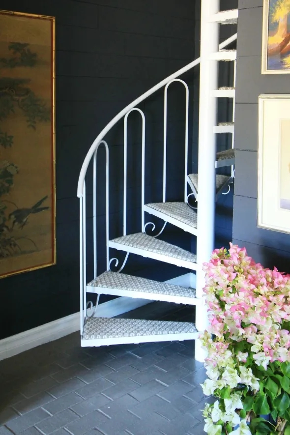 Diy Carpeting Spiral Stairs Juniper Home | Spiral Staircase For Sale Ebay | Stair Railing | Stair Case | Wrought Iron Spiral | Handrail | Attic Stairs