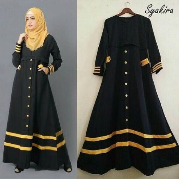 Model Long Dress Kombinasi Hitam Dan Gold