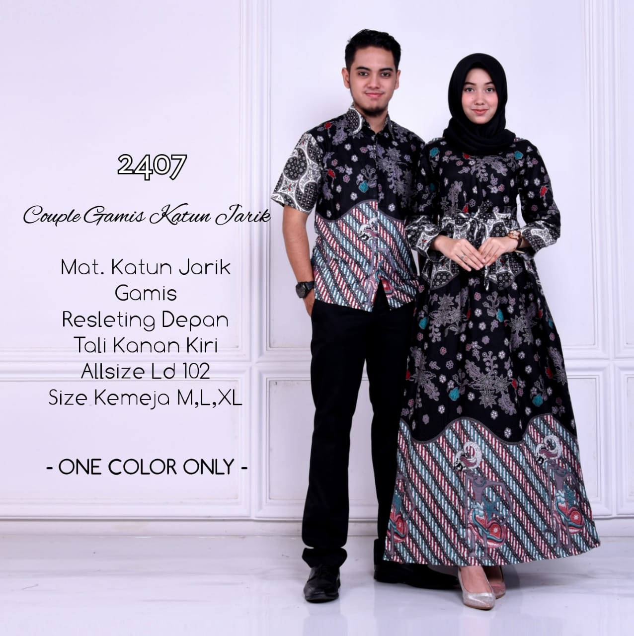 Model Gamis Batik Resleting Depan 4