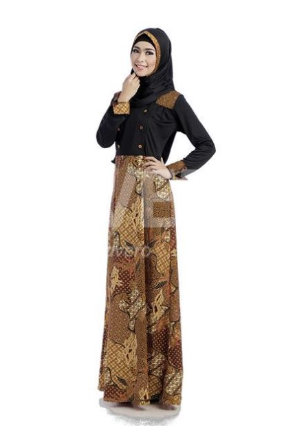 Image Result For Model Gamis Kombinasi Motif Dan Polos