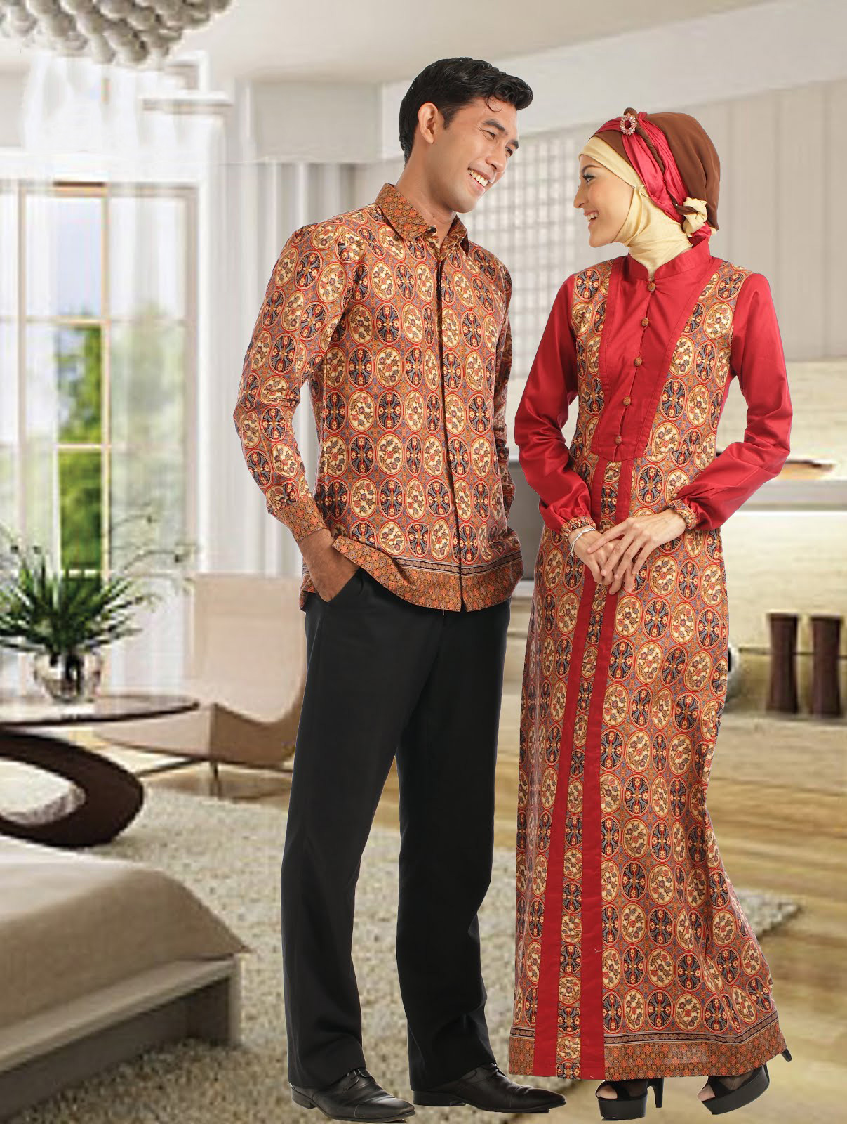 Image Result For Model Gamis Batik Kombinasi Polos Buat Pesta