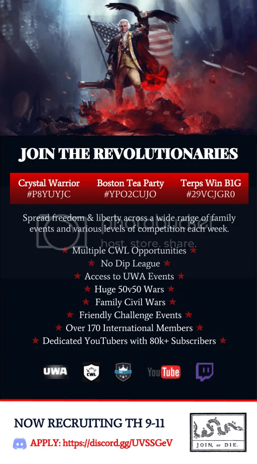 Crystal Warrior   Experienced 100  FP War Clan Now Recruiting Crystal Warrior is a sister clan to Terps Win B1G and Boston Tea Party with  affiliate clans for each sister  Crystal Warrior is also a member of the  UWA