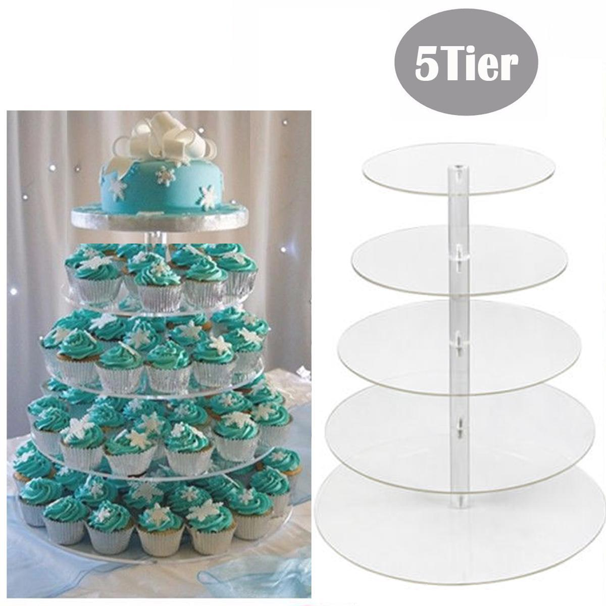 Tiered Cake Stands 5 Tiers Cake Assembly Set Towering Cake Stand Acrylic Crystal Clear Cupcake Stand  Wedding Party Display