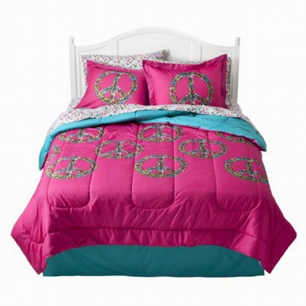 Full Bed In Bag Hot Pink Peace Signs Comforter Sheets