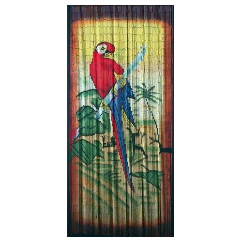 Bamboo54 Parrot Scene Graphic Print & Text Semi-Sheer ...