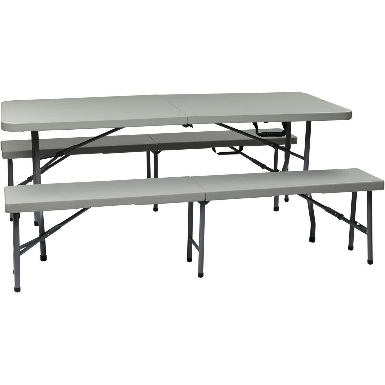 3 Piece Folding Table And Bench Set Walmart Com