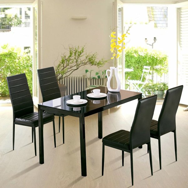 Breakfast Tables Uenjoy 5 Piece Dining Table Set 4 Chairs Glass Metal Kitchen Room Breakfast