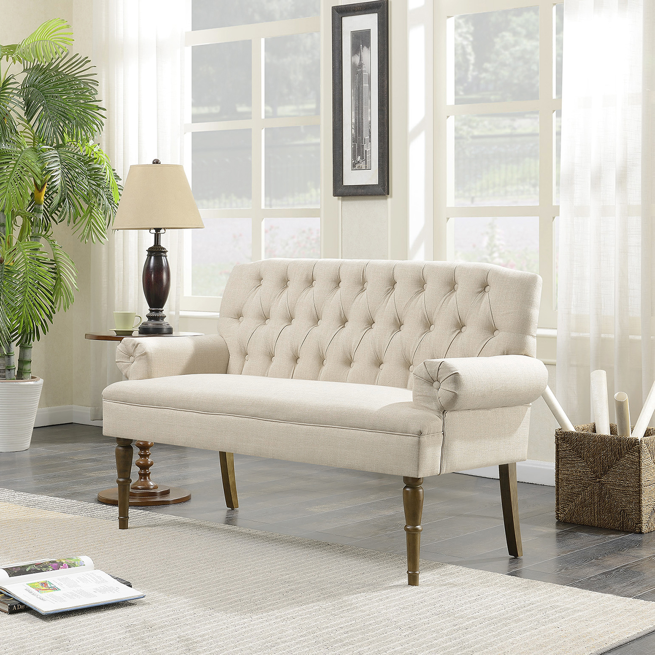 Belleze Button Tufted Mid Century Settee Upholstered