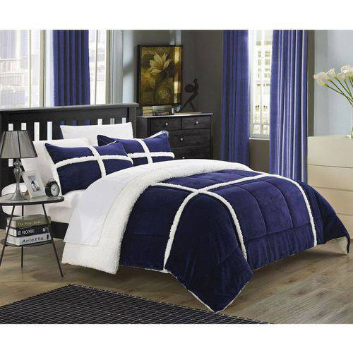 Chiron 7 Piece Sherpa Lined Plush Microsuede Comforter Set