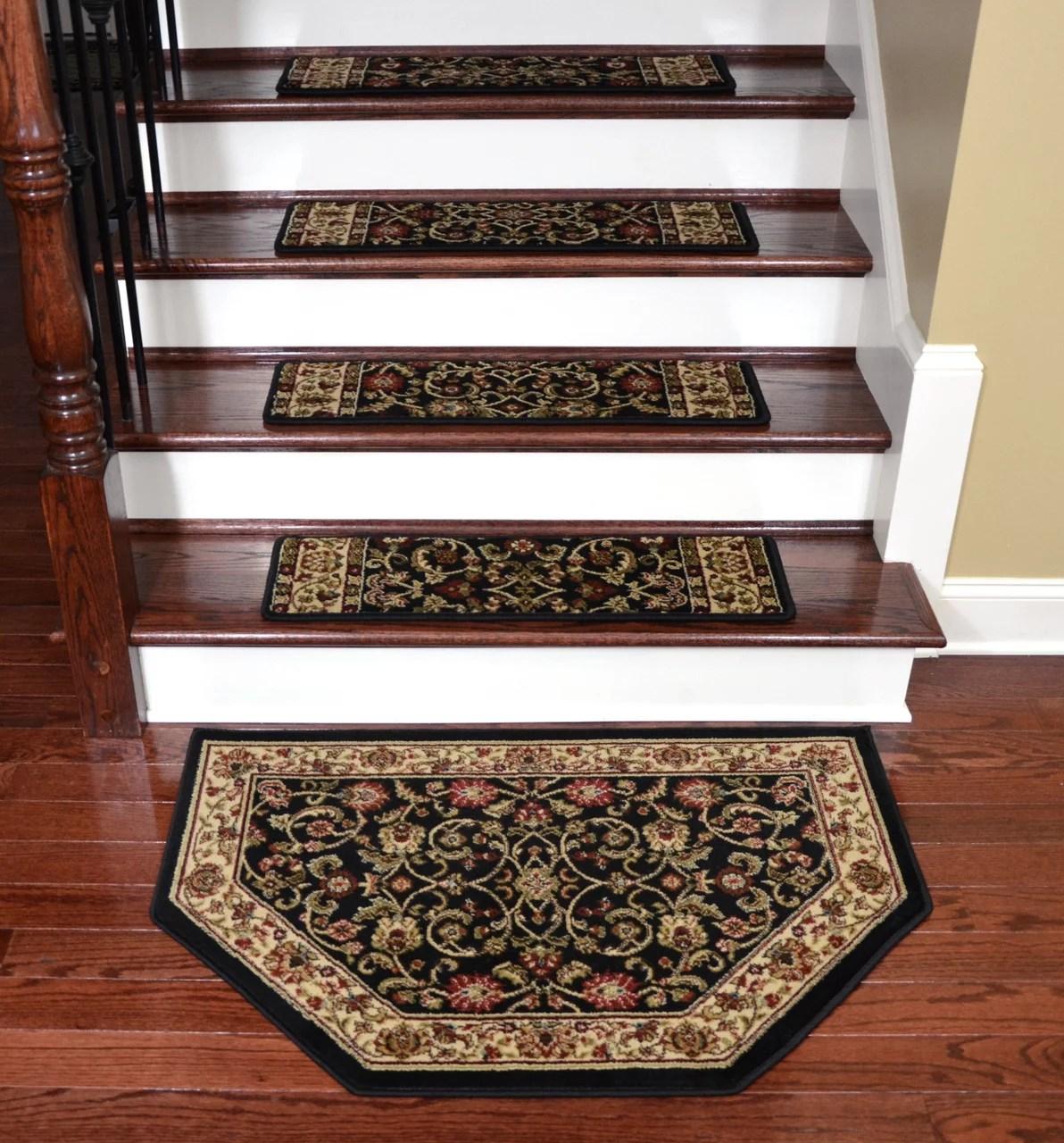 Dean Premium Carpet Stair Treads Classic Keshan Ebony 31 W Set | Dean Carpet Stair Treads | Pet Friendly | Gripper Tape | Friendly Diy | Rug | Modern Diy