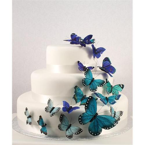 Beautiful Butterfly Wedding Cake Set In Blue 24 Pieces Weddingstar     Beautiful Butterfly Wedding Cake Set In Blue 24 Pieces Weddingstar
