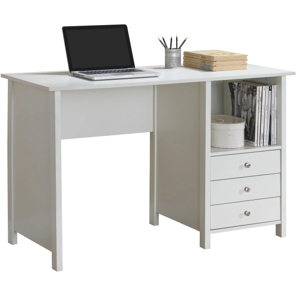 Techni Mobili Contempo Desk with 3 Storage Drawers  White   Walmart com