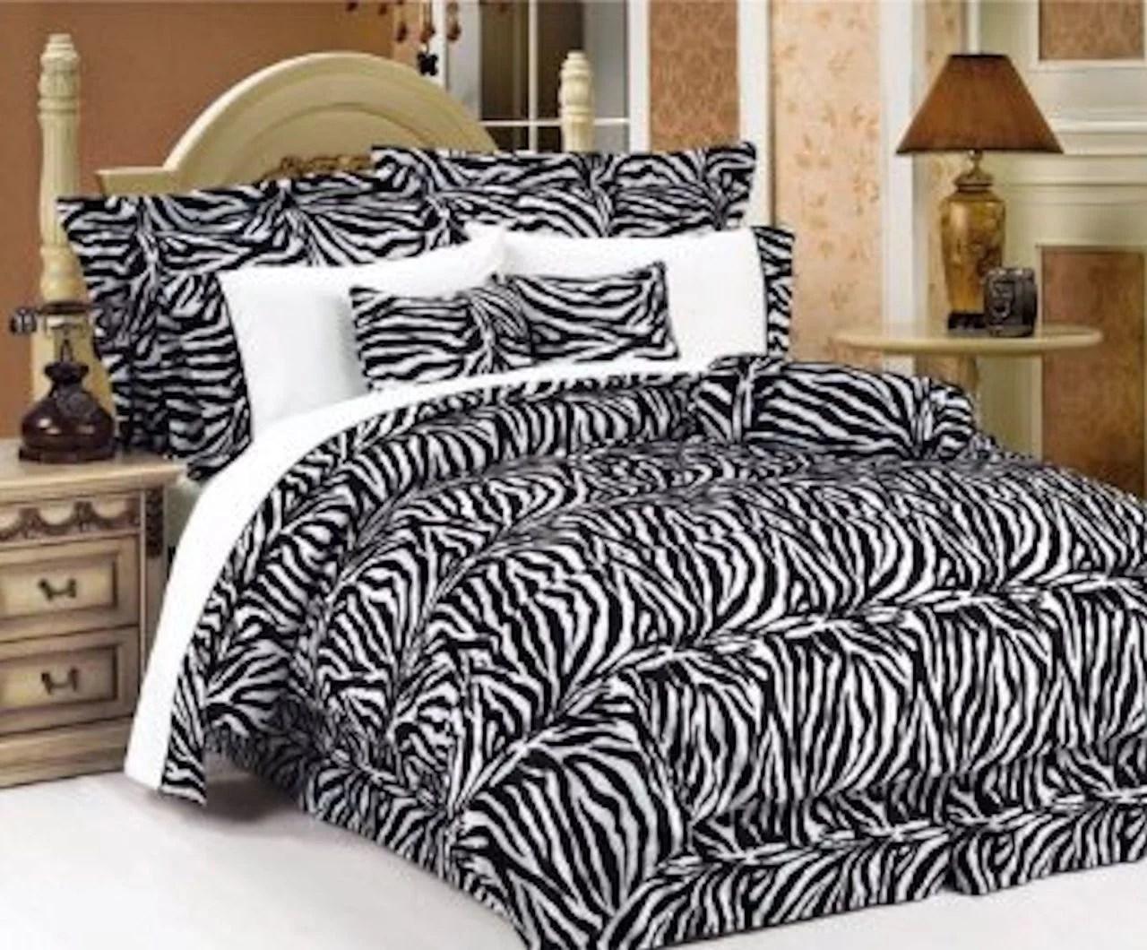 Legacy Decor 5 Pc Black And White Zebra Print Faux Fur