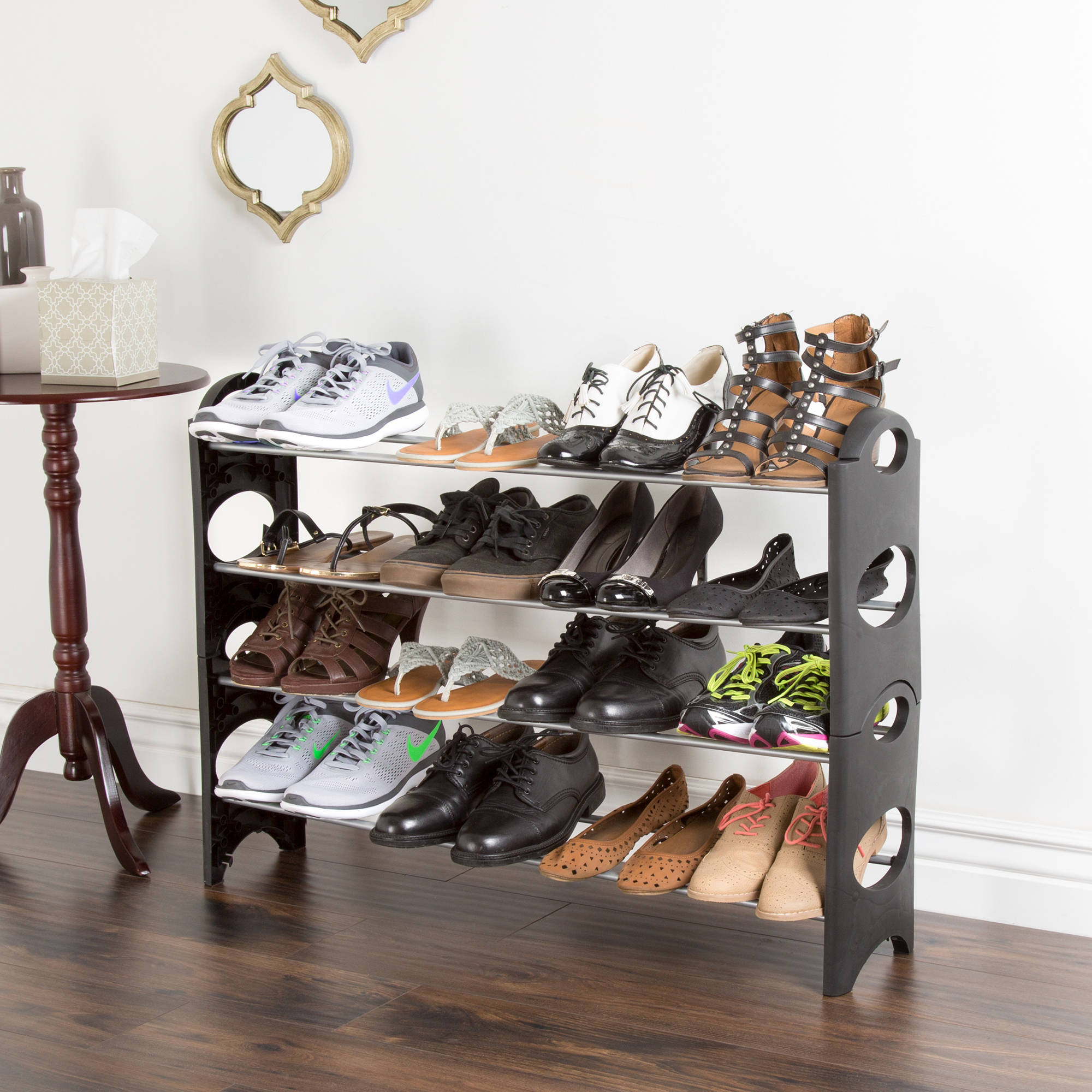 Shoe Rack Stackable Storage Bench Closet Bathroom
