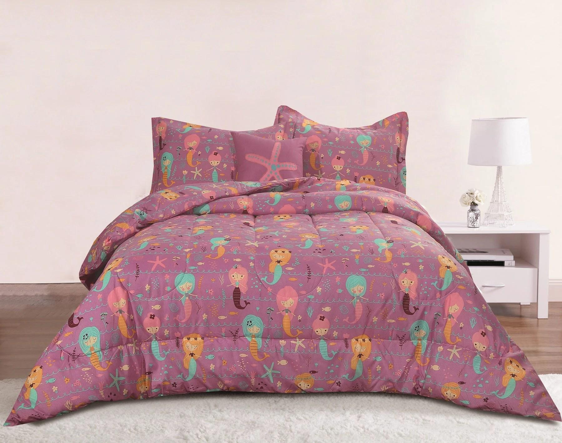 Mermaid Girls Bedding Full Queen 4 Piece Comforter Bed Set