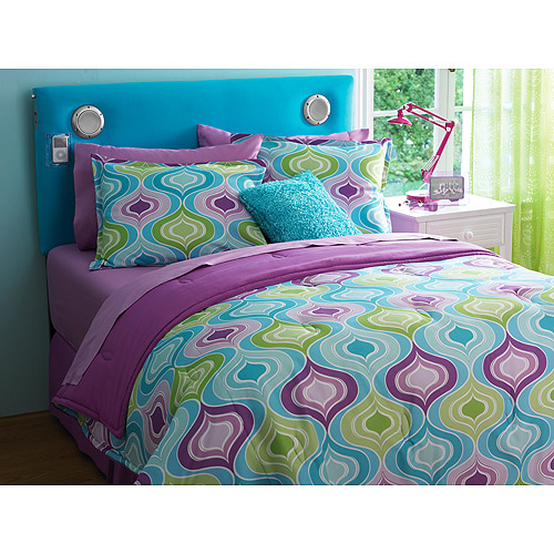 Your Zone Reversible Comforter Amp Sham Set Ogee Teal