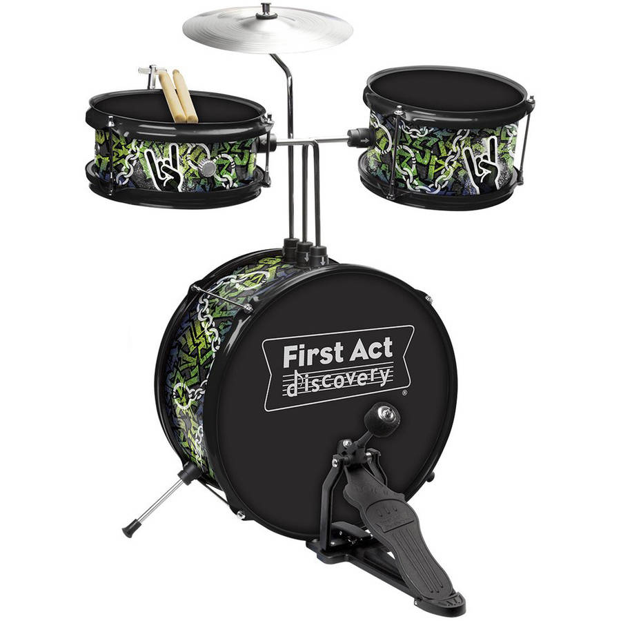 First Act Discovery Rock N Roll Designer Drum Set FD3718     Kids can get the beat with this rockin  First Act Discovery drum set
