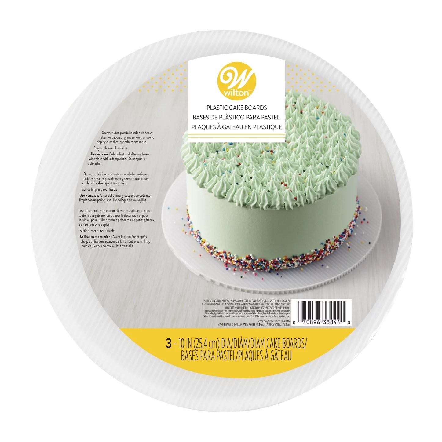 Wilton 10-Inch Round Plastic Cake Boards, White, 3-Count ...