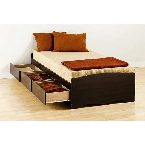Prepac Edenvale Twin Platform Storage Bed Espresso