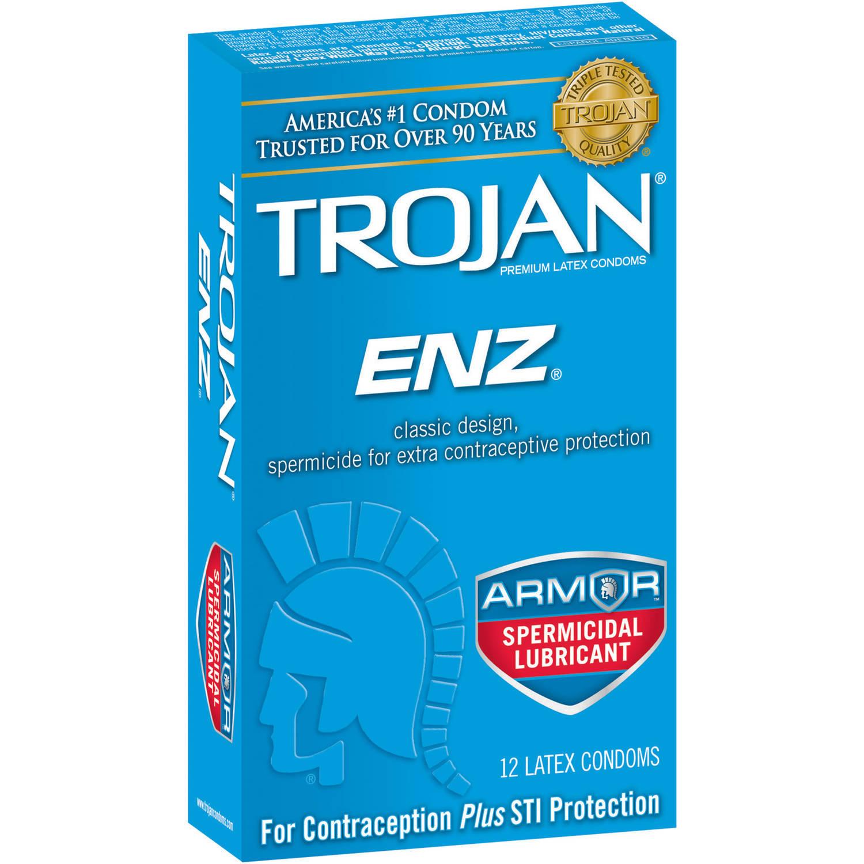 Trojan ENZ Armor Spermicidal Lubricant Latex Condoms, 12 ...