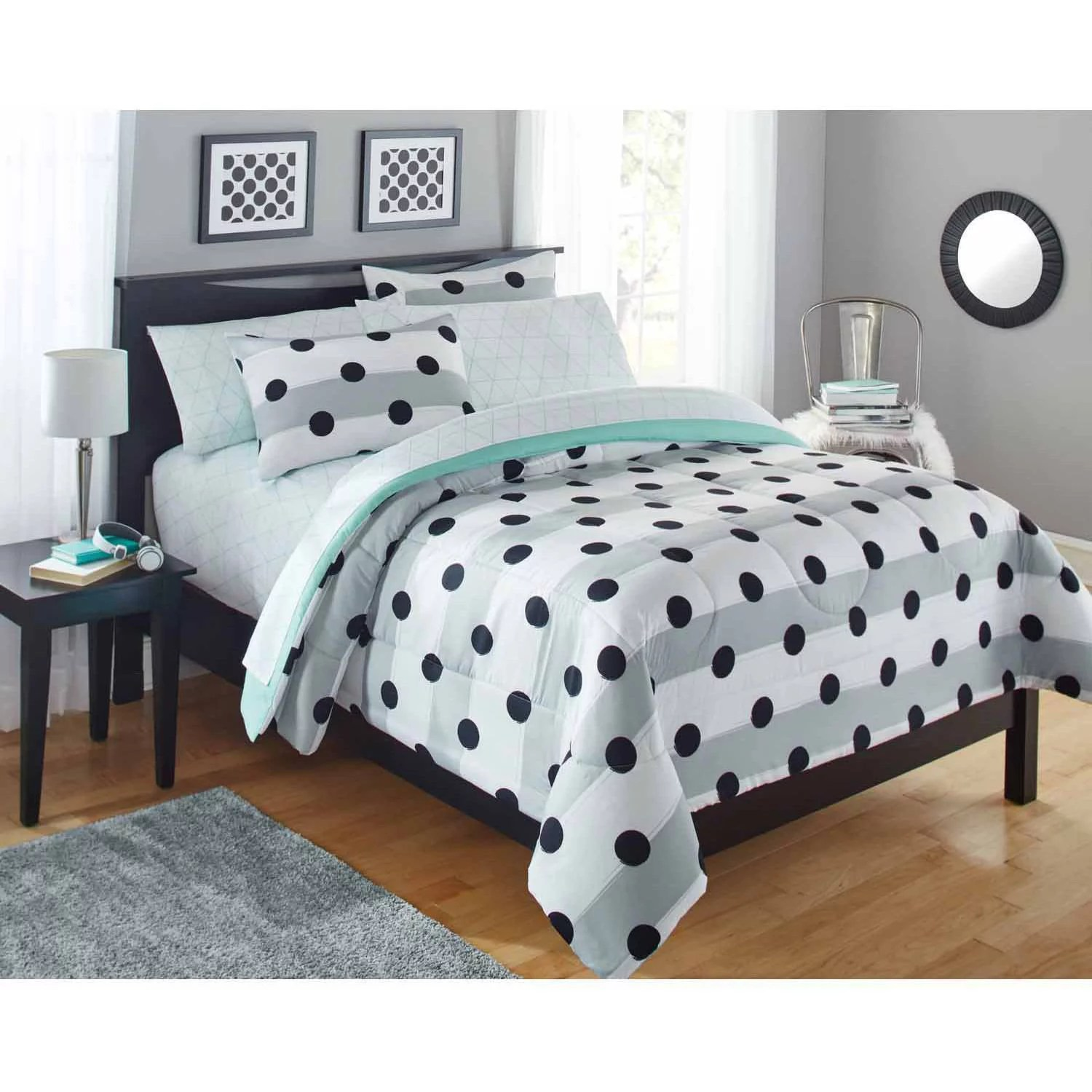 Your Zone Grey Stripe Dot Bed in a Bag Bedding Comforter Set     Your Zone Grey Stripe Dot Bed in a Bag Bedding Comforter Set   Walmart com