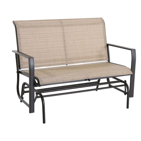 Cloud Mountain Wrought Iron Patio Glider Loveseat Bench   Walmart com Cloud Mountain Wrought Iron Patio Glider Loveseat Bench