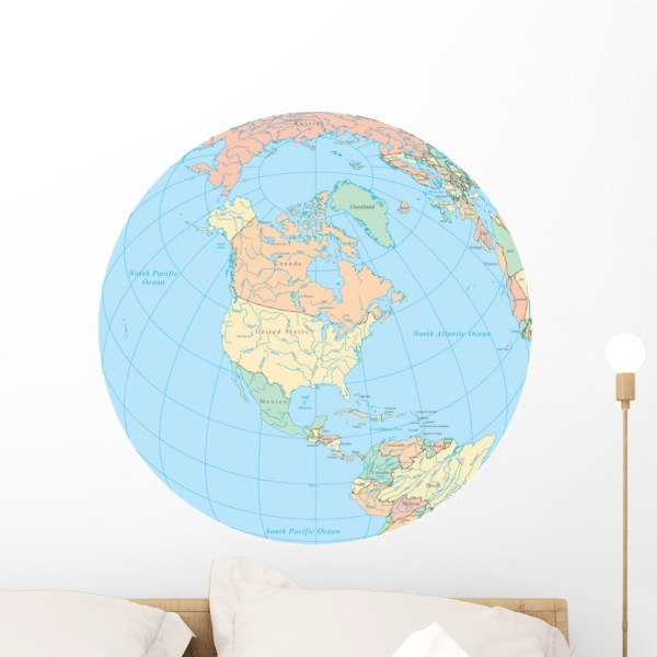 World Political Map Globe Wall Decal Sticker  Wallmonkeys Peel     World Political Map Globe Wall Decal Sticker  Wallmonkeys Peel   Stick  Vinyl Graphic  24 in W x 24 in H