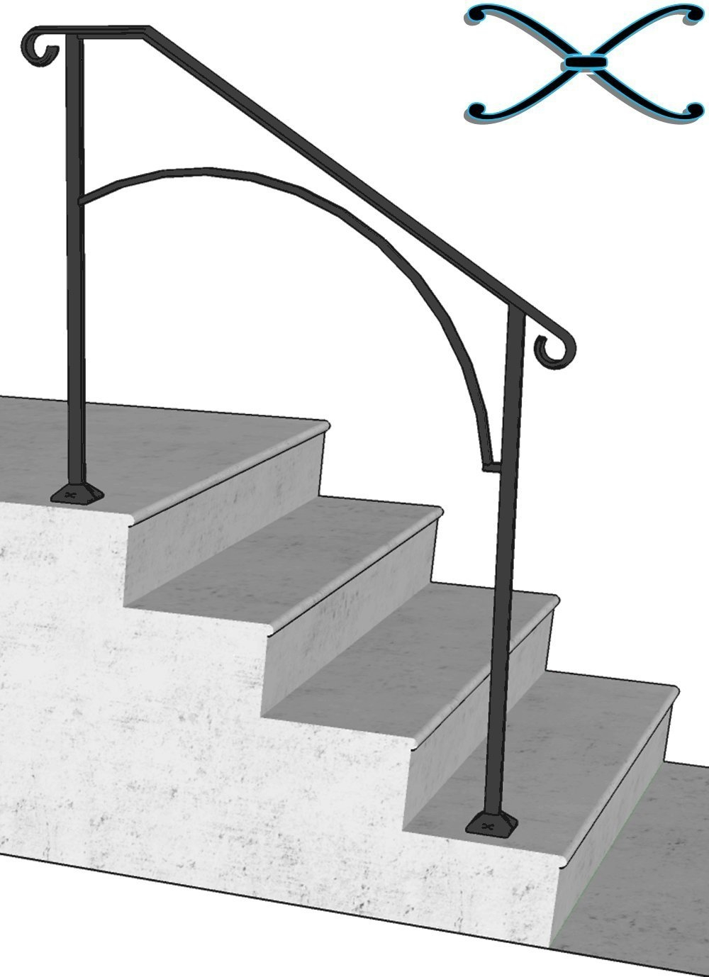 Iron X Handrail Arch 3 Concrete Steps Walmart Com Walmart Com   Handrails For Concrete Steps   Concrete Surface Mount Stair Railing   Back Patio   Premade   Landing   Deck Stair