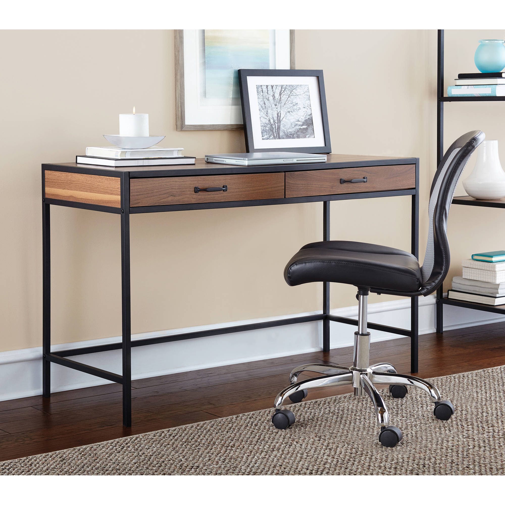 Mainstays Metro Desk with 2 Drawers  Multiple Finishes   Walmart com