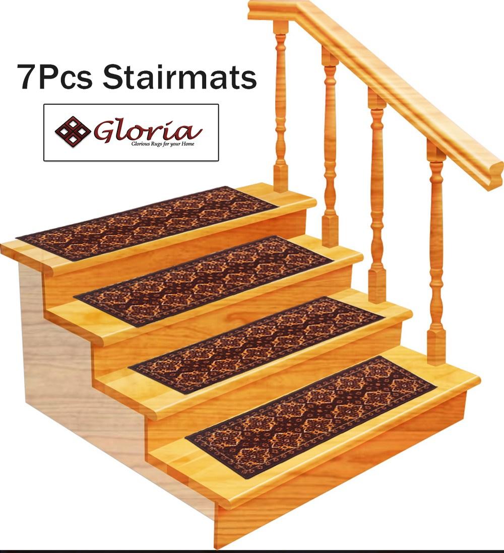 Stair Treads Non Slip Skid Resistant Stair Carpet Set Of 7 8 5   Rubber Backed Carpet Stair Treads   Slip Resistant Rubber   Ultra Thin   Wood   Ottomanson   Beige