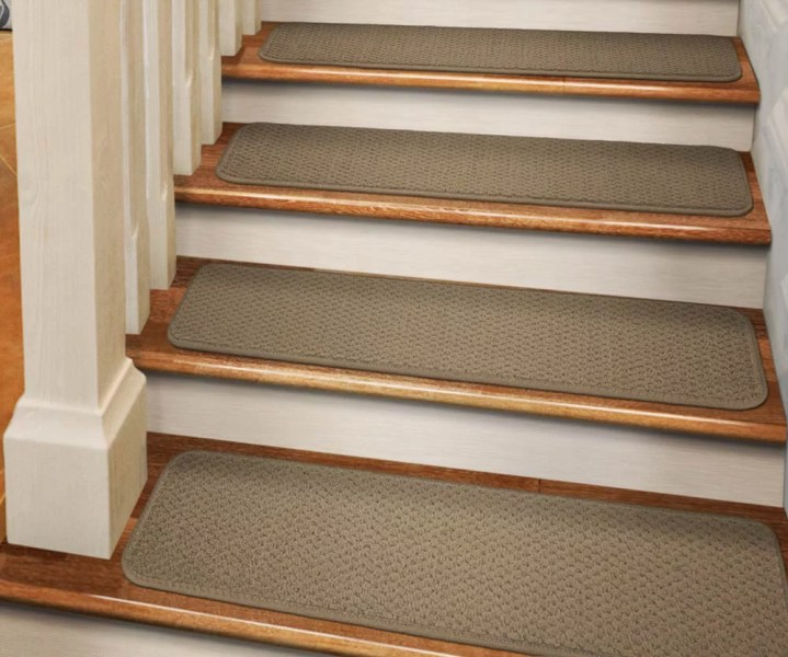 Carpet Stair Treads Set of 12 Tape Down Carpet Stair Treads   Camel Tan   8 In