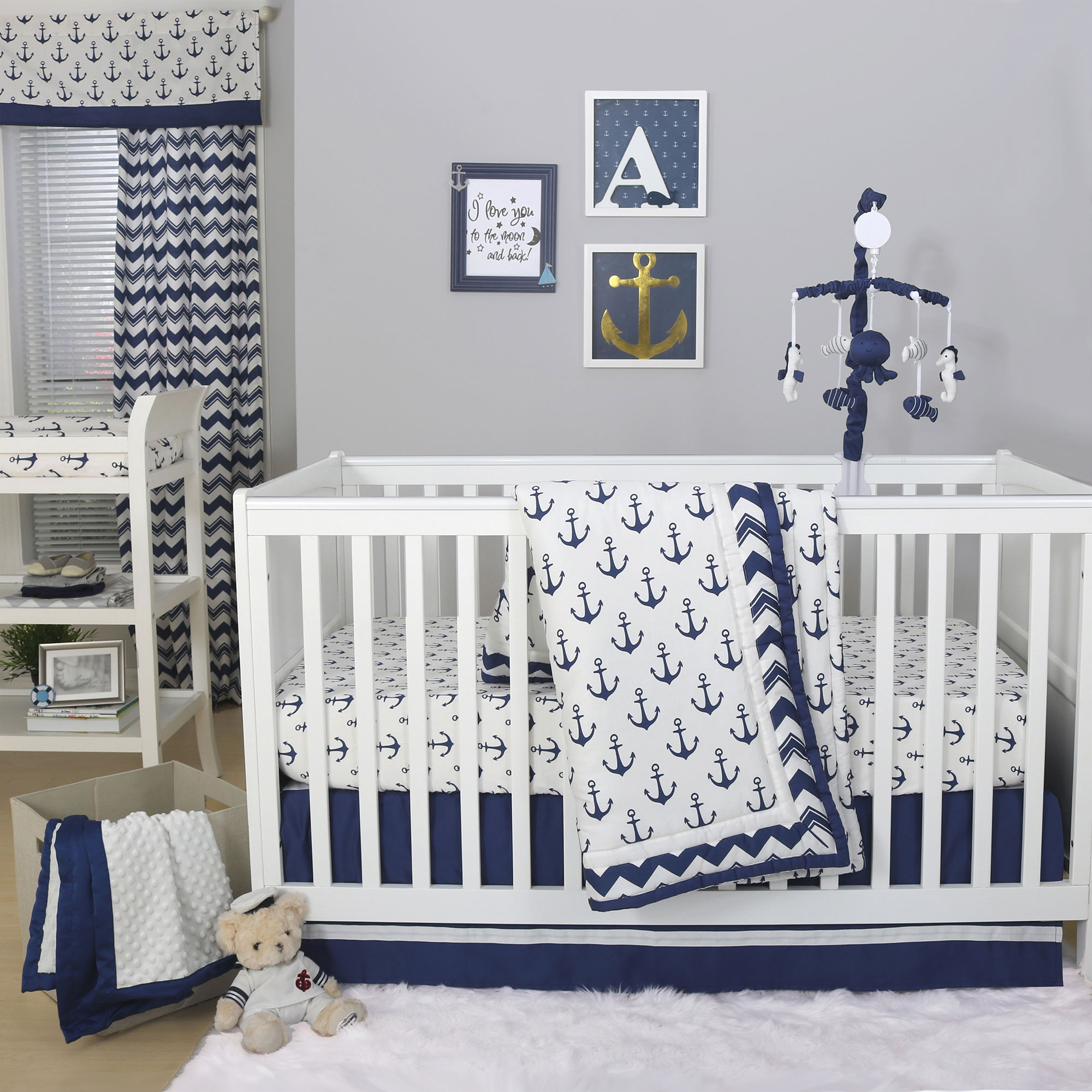 The Peanut Shell 3 Piece Baby Crib Bedding Set Navy Blue