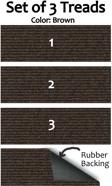 Set Of 3 Rubber Backed Non Slip 1 4 Thick Heavy Duty Indoor   Thick Carpet Stair Treads   Non Slip   Cut Pile   Bullnose Carpet   Slip Resistant   Flooring
