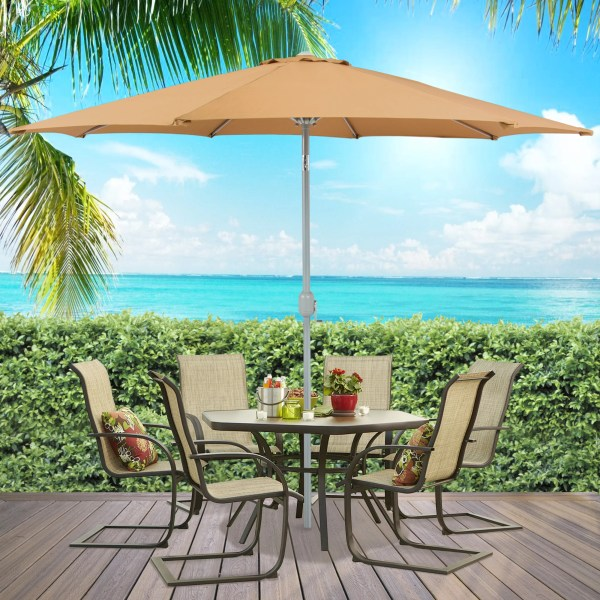 Best Choice Products Outdoor Furniture Wicker Rattan Patio Umbrella     Best Choice Products Outdoor Furniture Wicker Rattan Patio Umbrella Stand  Table for Garden  Pool Deck   Brown   Walmart com
