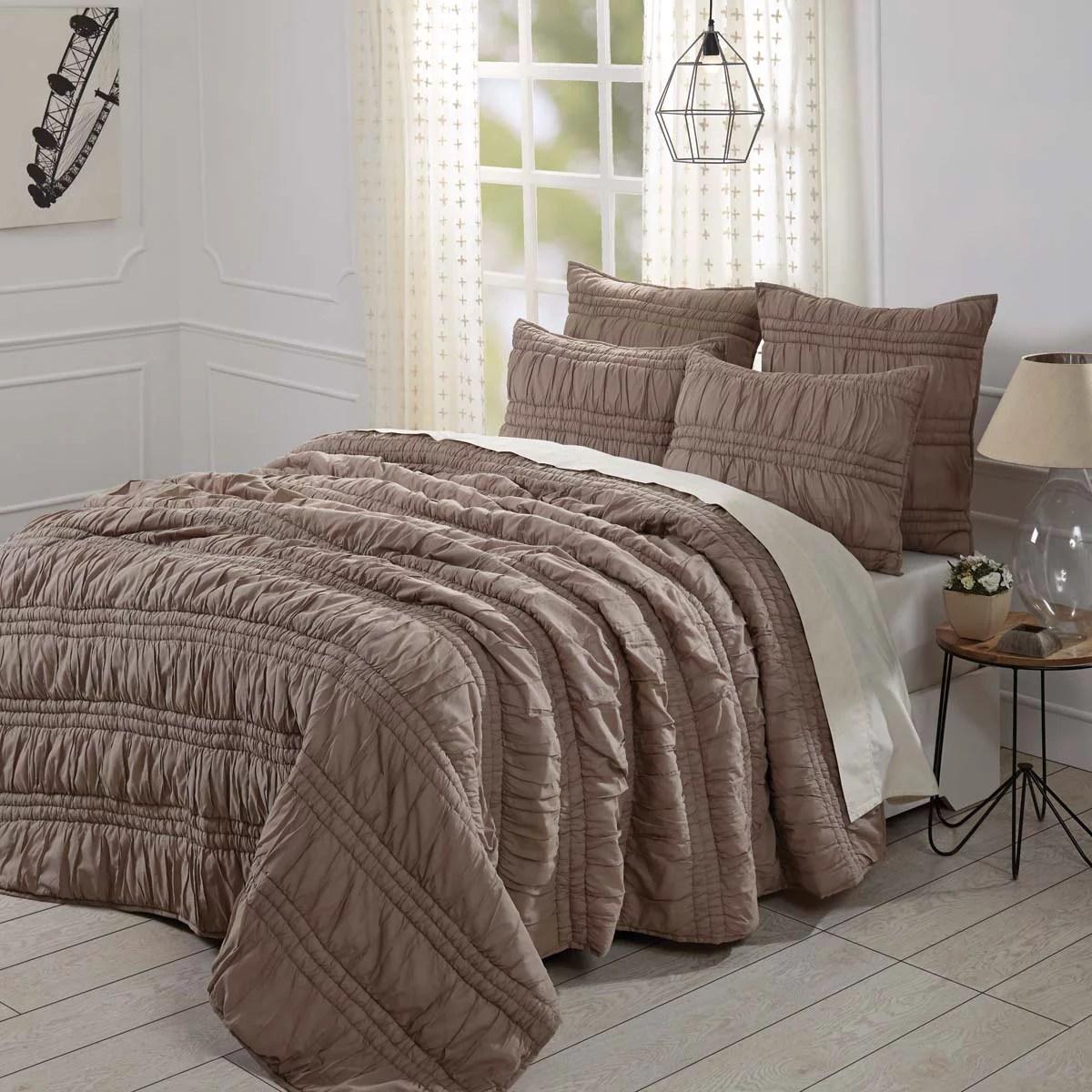 Warm Taupe Brown Farmhouse Bedding Natasha Cotton Pre